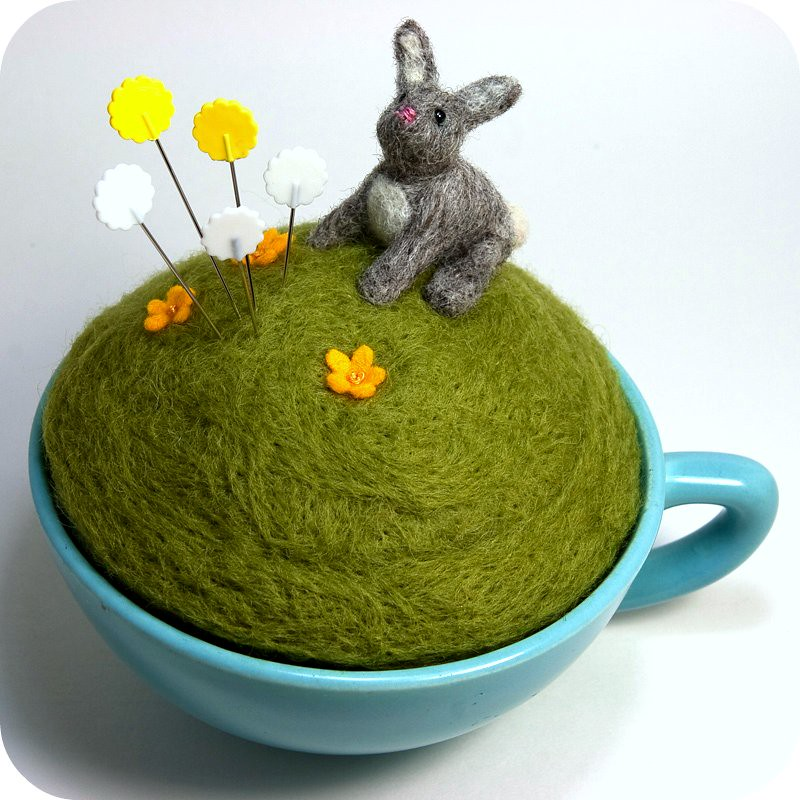 year of the rabbit teacup pincushion a needle felted littl flickr. Black Bedroom Furniture Sets. Home Design Ideas