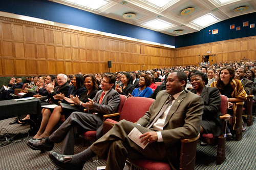 Agriculture Assistant Secretary for Civil Rights Dr. Joe Leonard (right) and an auditorium full of U.S. Department of Agriculture employees