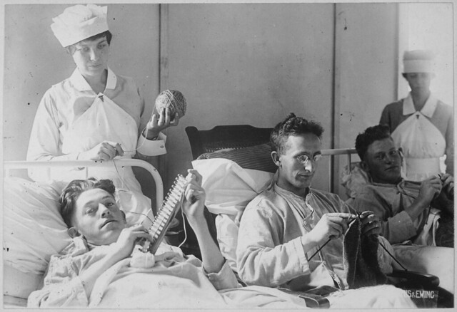 Bed Ridden Wounded Knitting Walter Reed Hospital