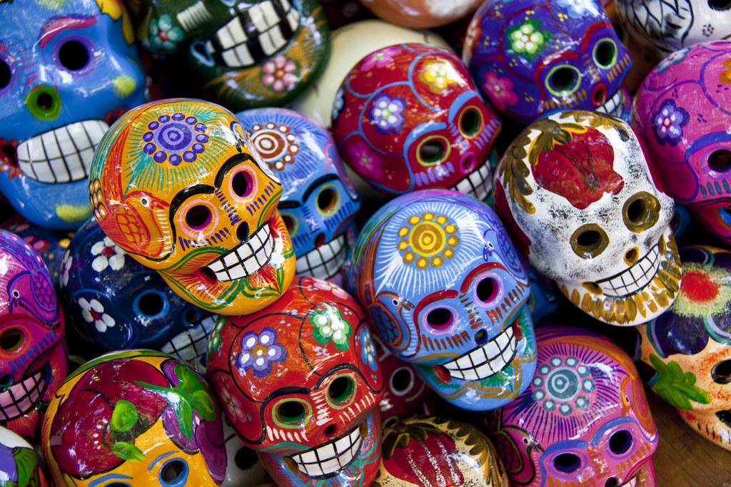 Mexican skull art orange decorative skulls from day of for Day of the dead craft supplies