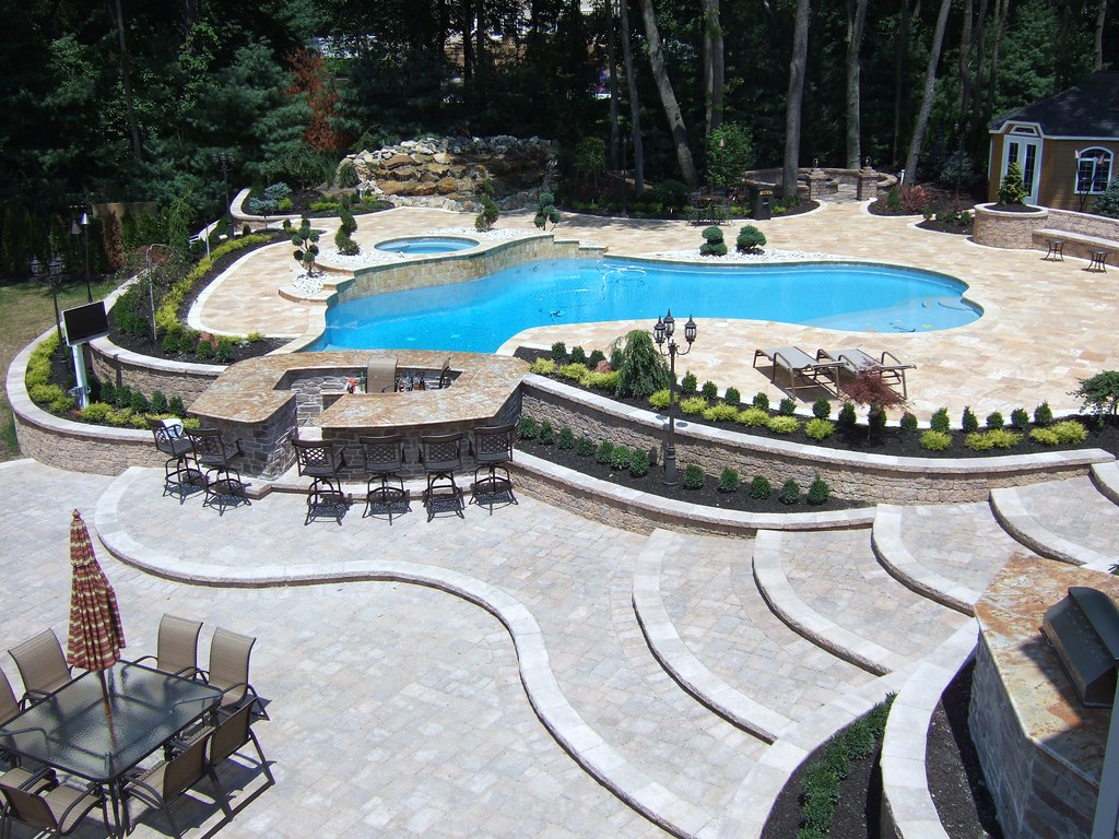 luxury full pool and patio landscape and design with new a