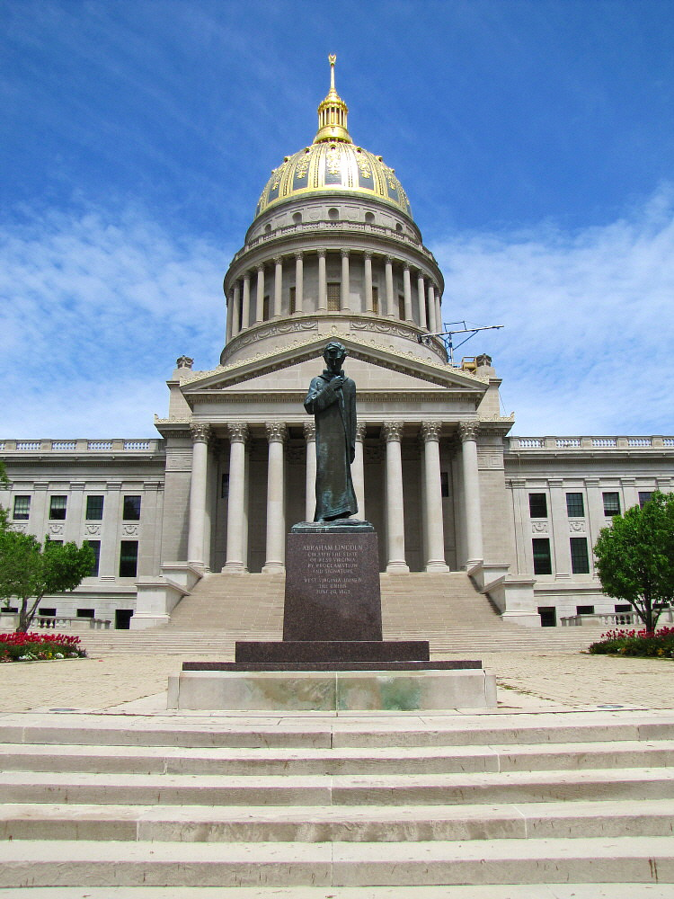 WV State Capitol And Lincoln Statue  This Shot Of The