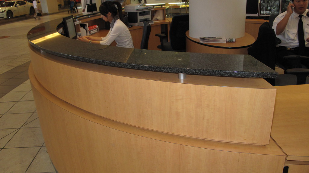 Commercial building desk counter tops installation flickr for How to build a commercial bar top
