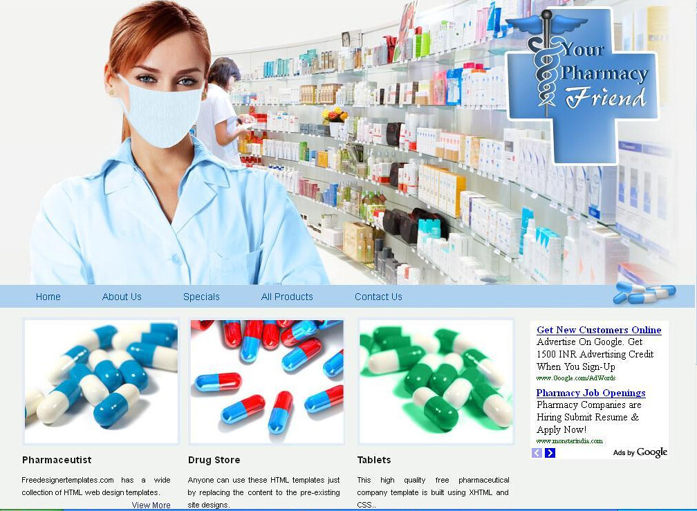 pharmacy website templates