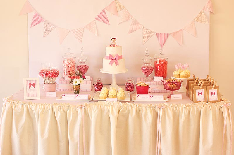 Pretty pink first birthday table | Cake table inspired by ...