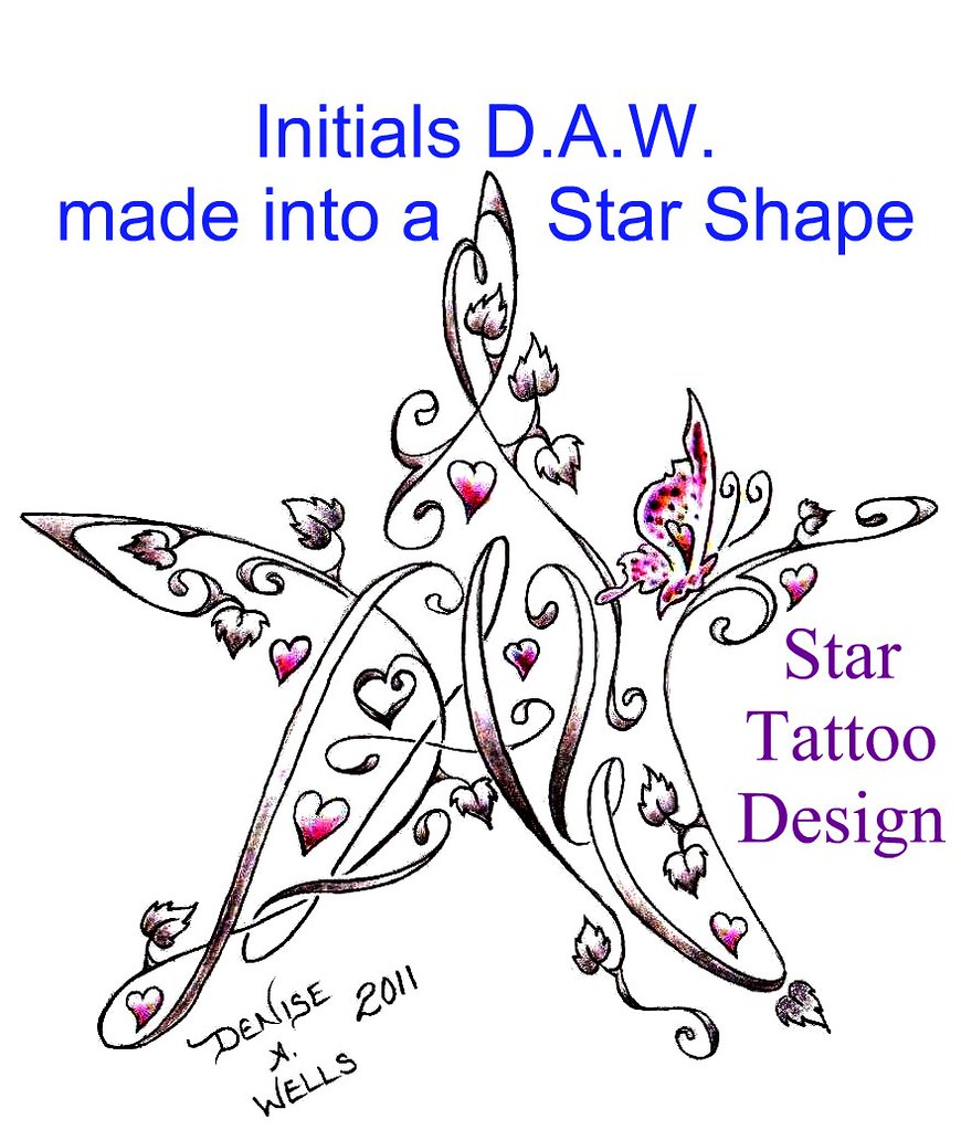 star tattoo design by denise a wells initials d a w made flickr. Black Bedroom Furniture Sets. Home Design Ideas