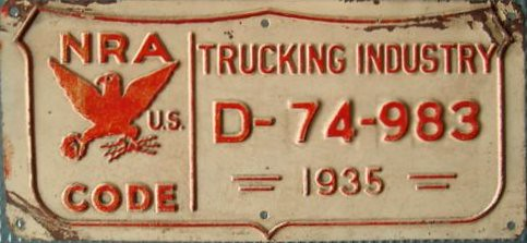 1935 National Recovery Act Trucking Industry License Plate