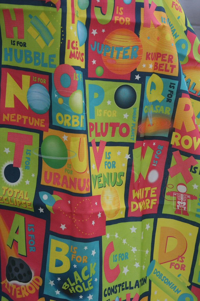 Fabric of the week winner alphabet space alphabet by for Space themed fabric
