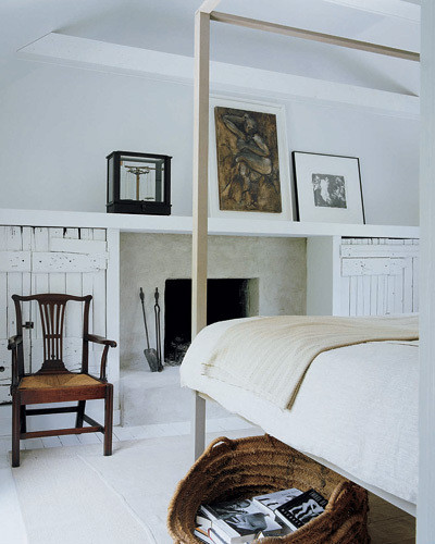 Modern Classic And Rustic Bedrooms: Darryl Carter Via Elle Decor {white Rustic Modern Bedroom