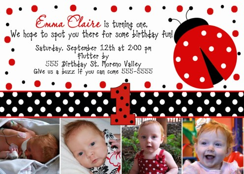 Ladybug Spots 1st Birthday Party Invitation Ladybug Sp – Ladybug Invitations 1st Birthday