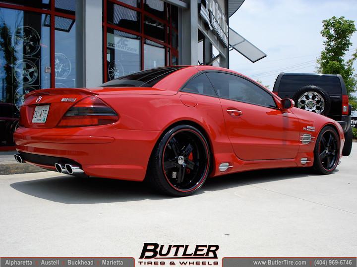Mercedes Sl55 Amg 20in Mandrus Manheim Black Red 3 Flickr