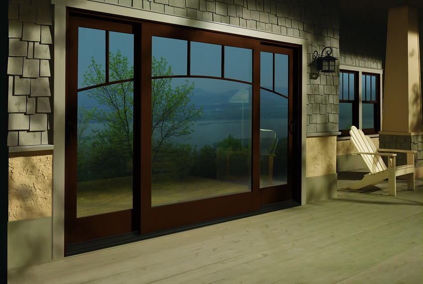A series frenchwood gliding patio doors with exterior trim for Double hung french patio doors