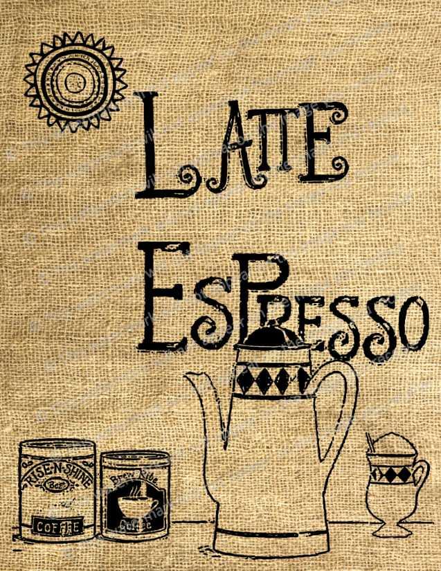 Vintage Art Print Latte Espresso Coffee Pot Cup Mocha Suns