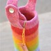 felted water bottle carrier :: maya's rainbow, short strap
