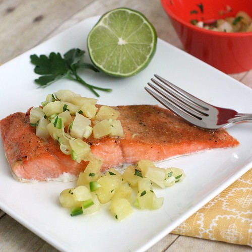Broiled Salmon with Pineapple Salsa | by Tracey's Culinary Adventures