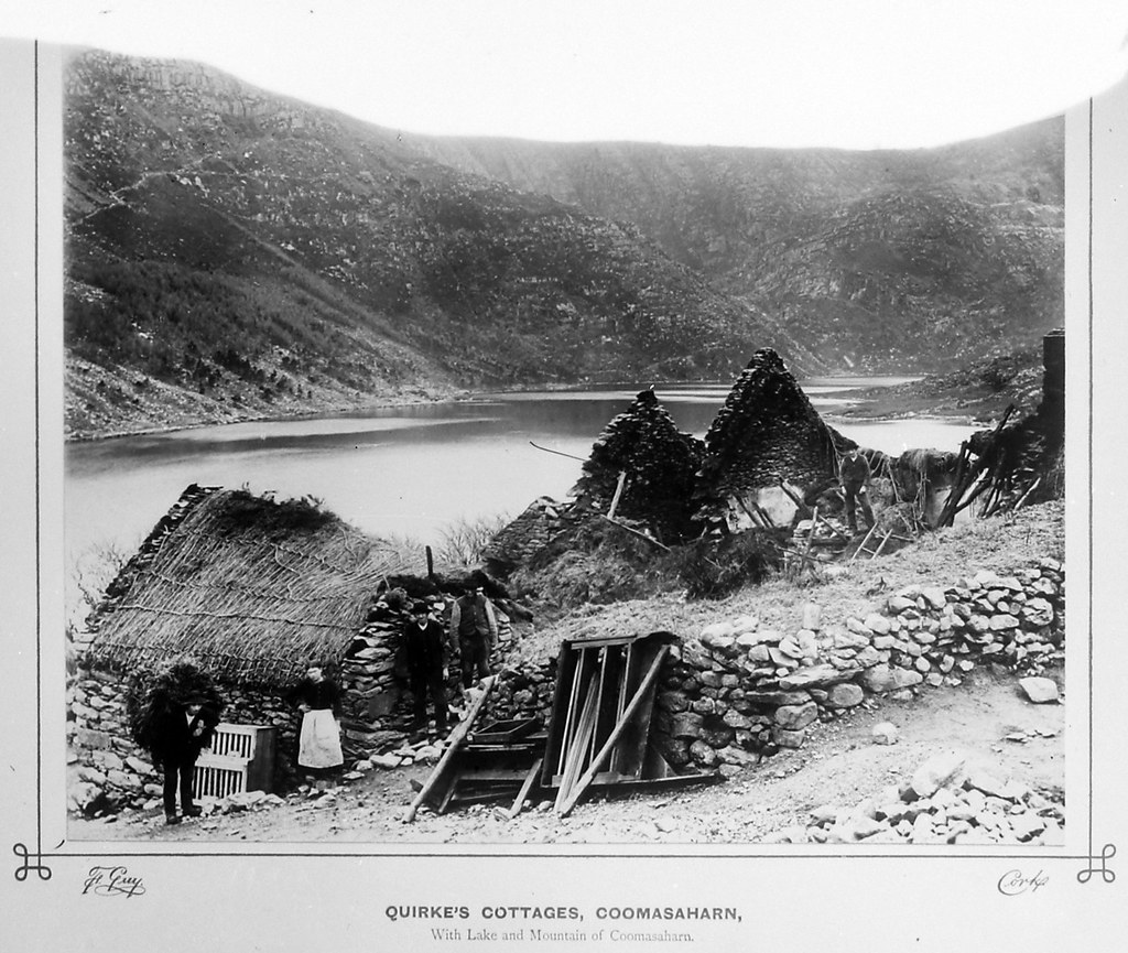 Quirke's cottages, Coomasaharn with Lake and Mountain of Coomasaharn | by National Library of Ireland on The Commons