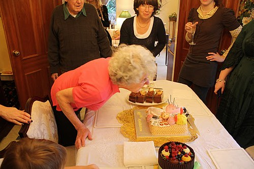 Grandma blows out the candles on her 90th birthday cake  Flickr ...