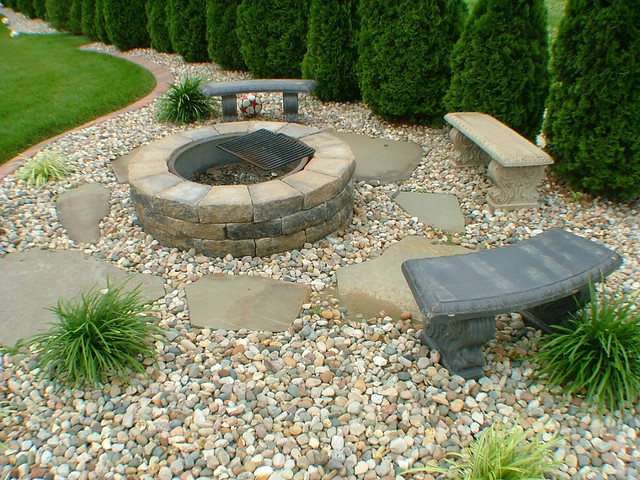 fire pit and sitting rocked area landscape flickr