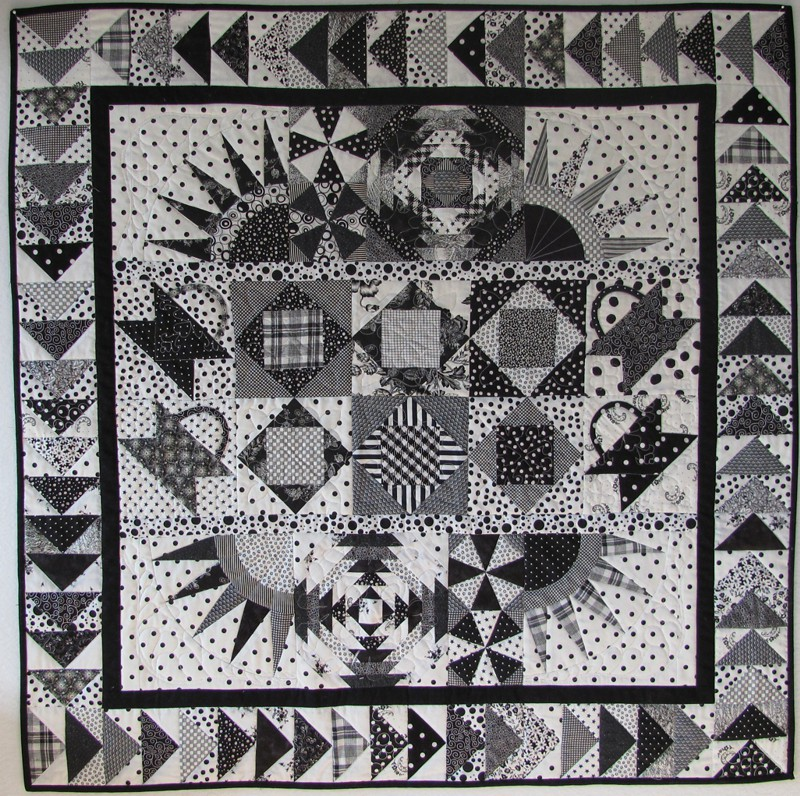 Black and white quilt i made this quilt for my guestroom for Black white and gray quilt patterns