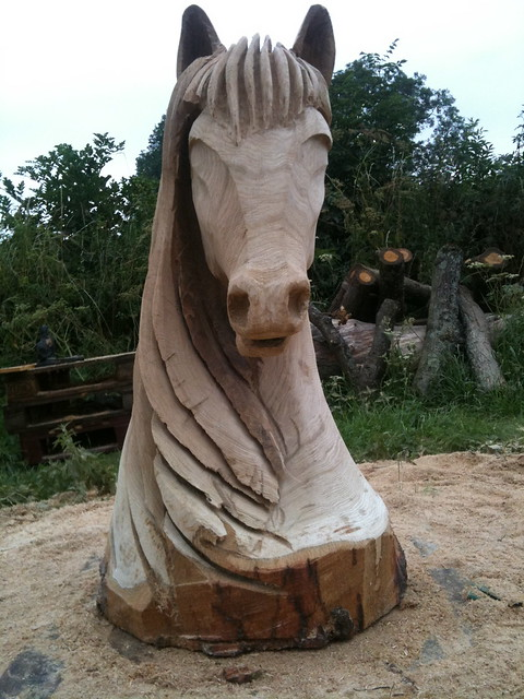Horse head chainsaw carving flickr photo sharing