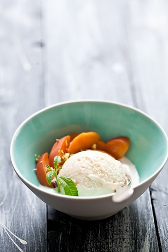 Lemon Verbena Ice Cream & Poached Peaches | by tartelette