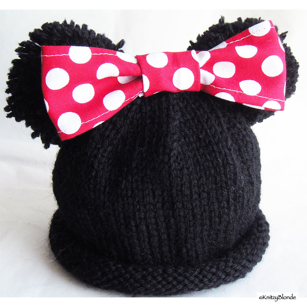 Snood Scarf Knitting Pattern : Minnie Mouse Ears Hand Knit Baby Hat Sandie Russo Flickr