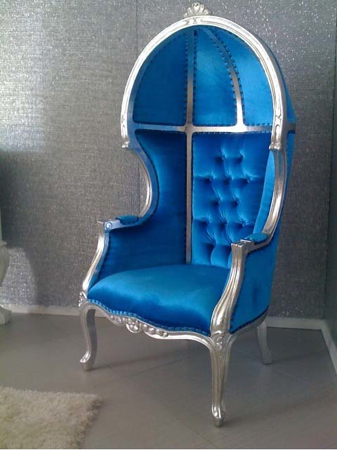 4028 Balloon Chair Tufted Blue Velvet Go Back In Time