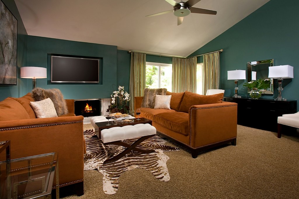Fountain valley living room after teal and brown living - Bathroom color schemes brown and teal ...