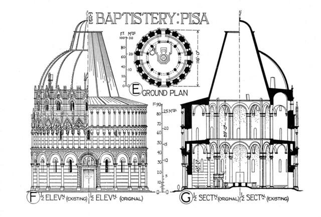 Elevation Plan App : Pisa baptistery plan elevation section flickr photo