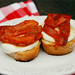 marinated roasted red pepper open face sandwiches