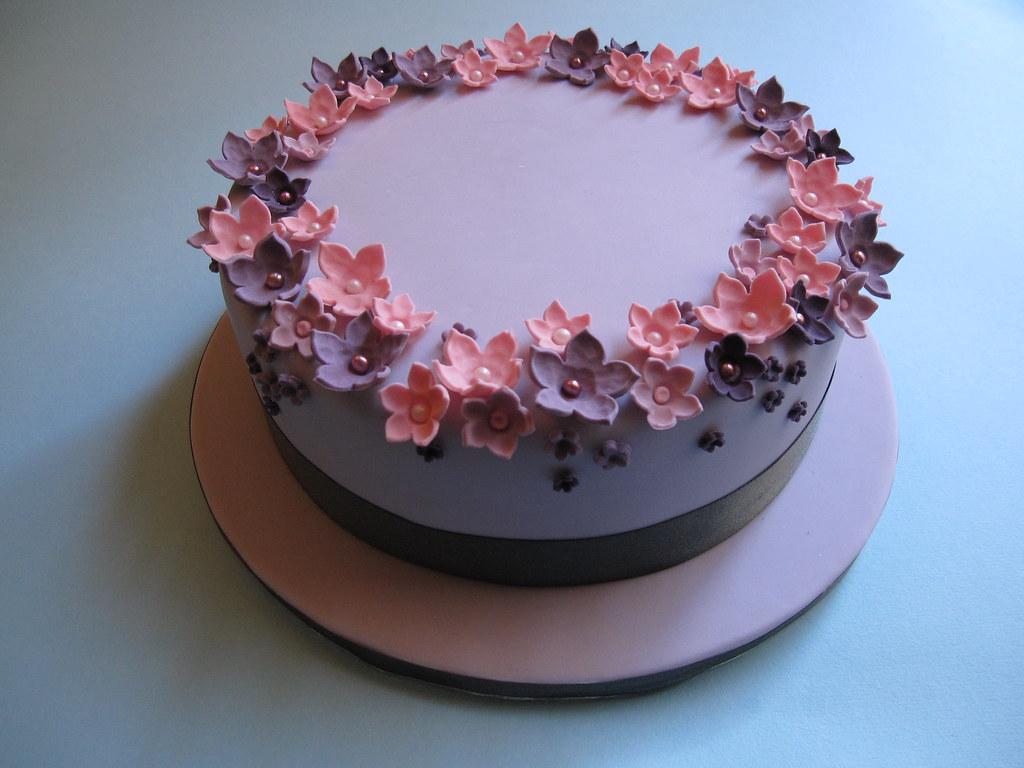 Single Tier Wedding Cake Pink and Lilac Sugar Flowers