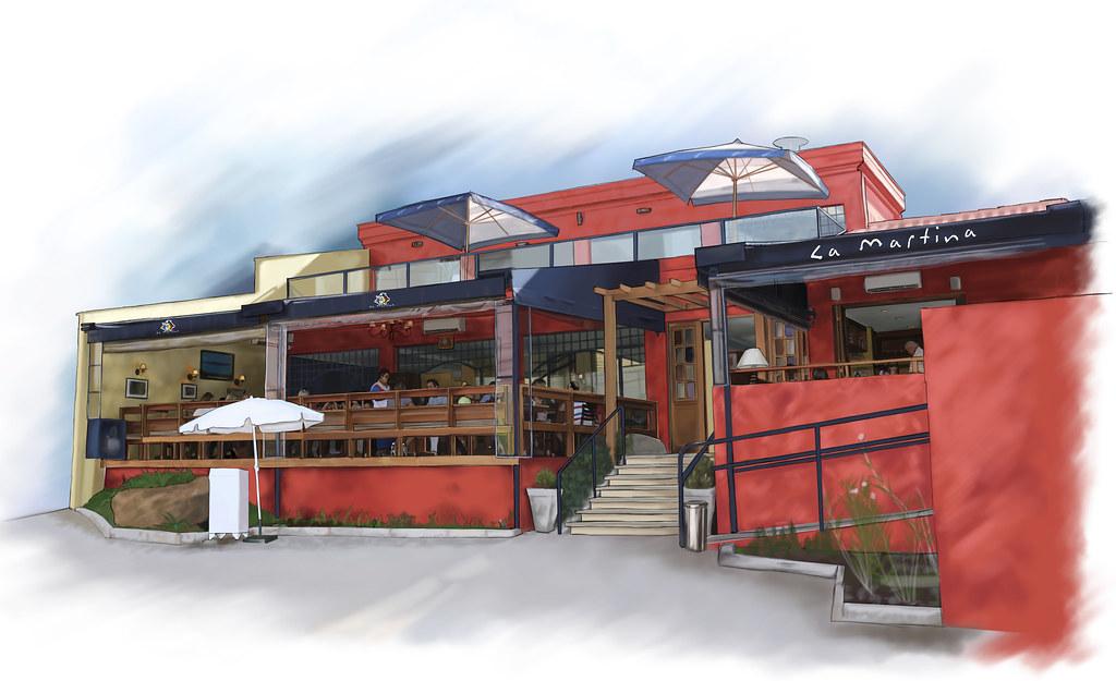Restaurante la martina desenho da fachada robson de for Fachada para restaurante