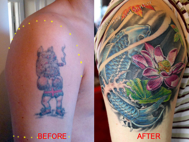 Koi fish cover up tattoo by mirek vel stotker flickr for Koi fish cover up