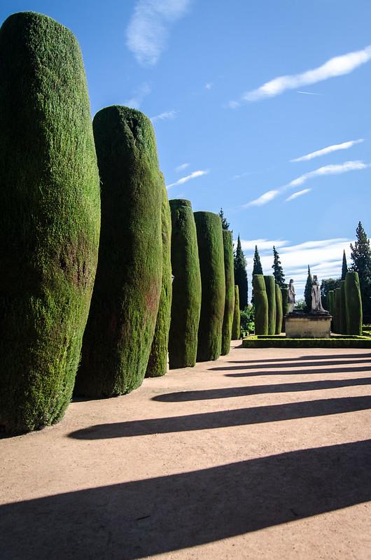 The immaculately maintained gardens at Alcázar de los Reyes Cristianos, also known as the Alcázar of Córdoba.