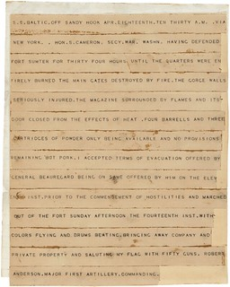 Telegram Announcing the Surrender of Fort Sumter, Front | by The U.S. National Archives