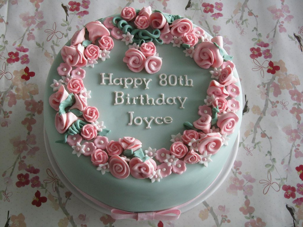 Pink flower garden cake very rich brandy fruit cake for Gardening 80th birthday cake