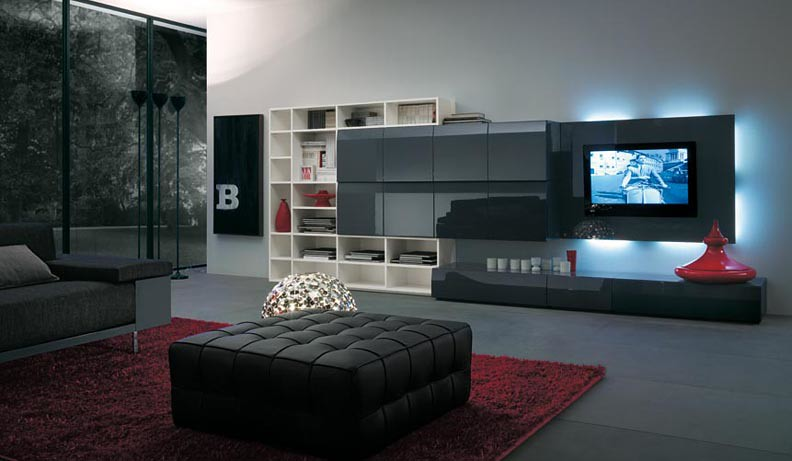Modern Living Design Wall Feature Display Tv Console Cabin