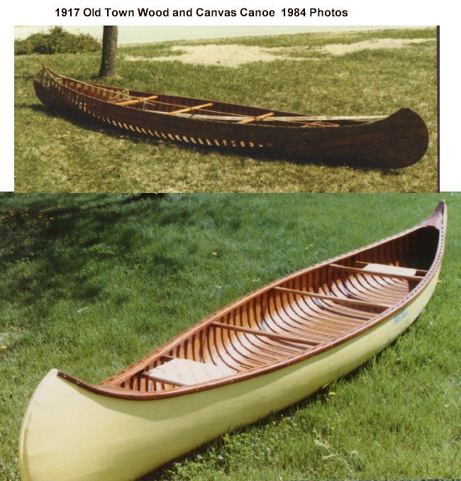1917 Wood And Canvas Old Town Canoe As Purchased In 1984