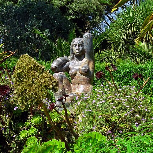 Tresco Abbey Gardens Scilly Isles Uk A Statue Of The E