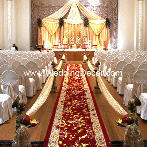 Red And Gold Wedding Decorations: A Wedding Mandap In Gold Fabric With
