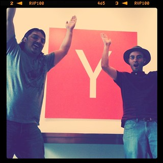My cofounder and I doing the YMCA in the Y Combinator lobby. | by Al Abut