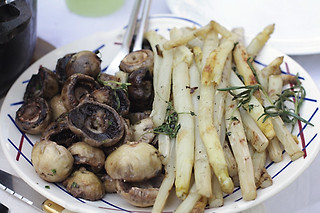 grilled mushrooms and asparagus | by David Lebovitz