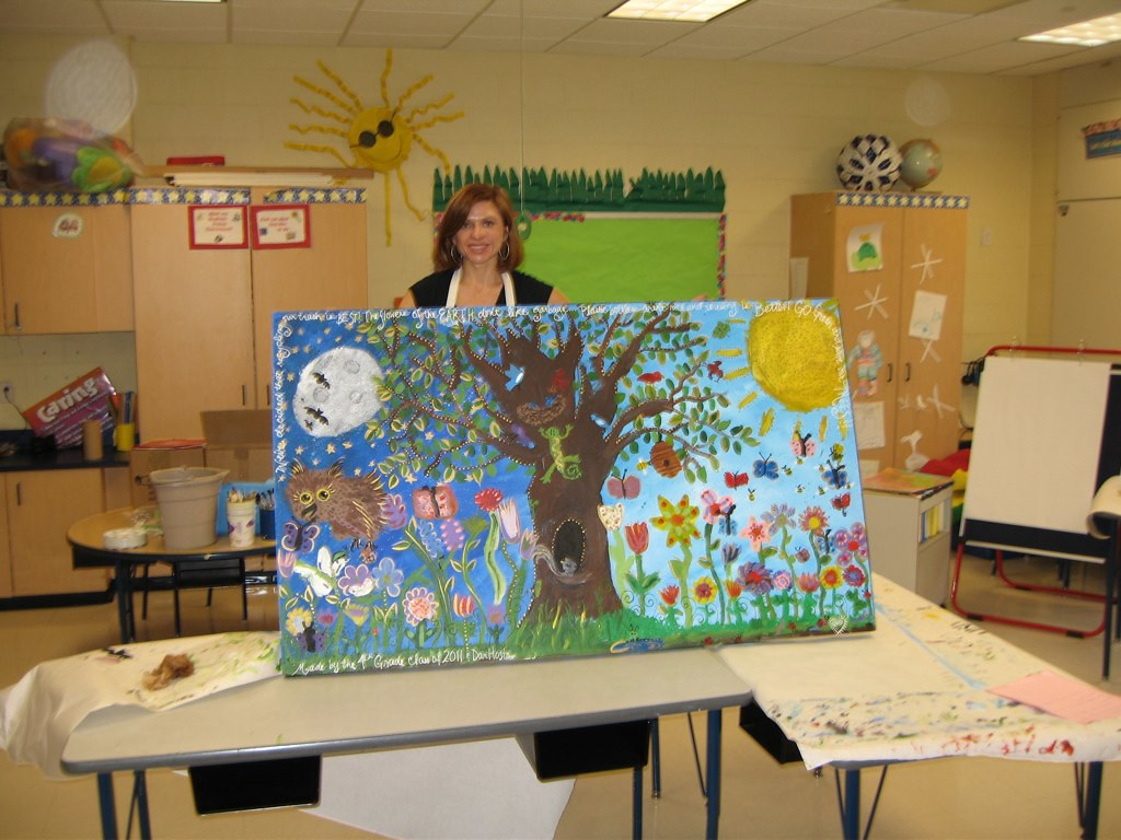 Earth day mural finished earth day mural from mendham for Earthrise mural