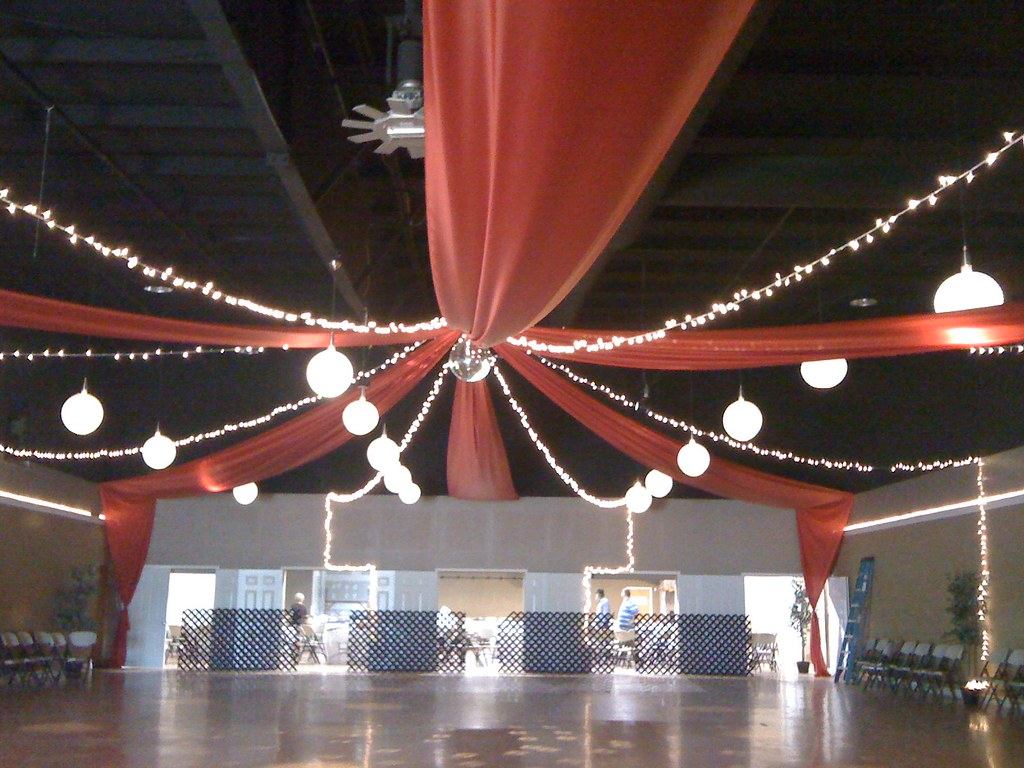 Red Ceiling Drape With Lights This Was For A Prom The