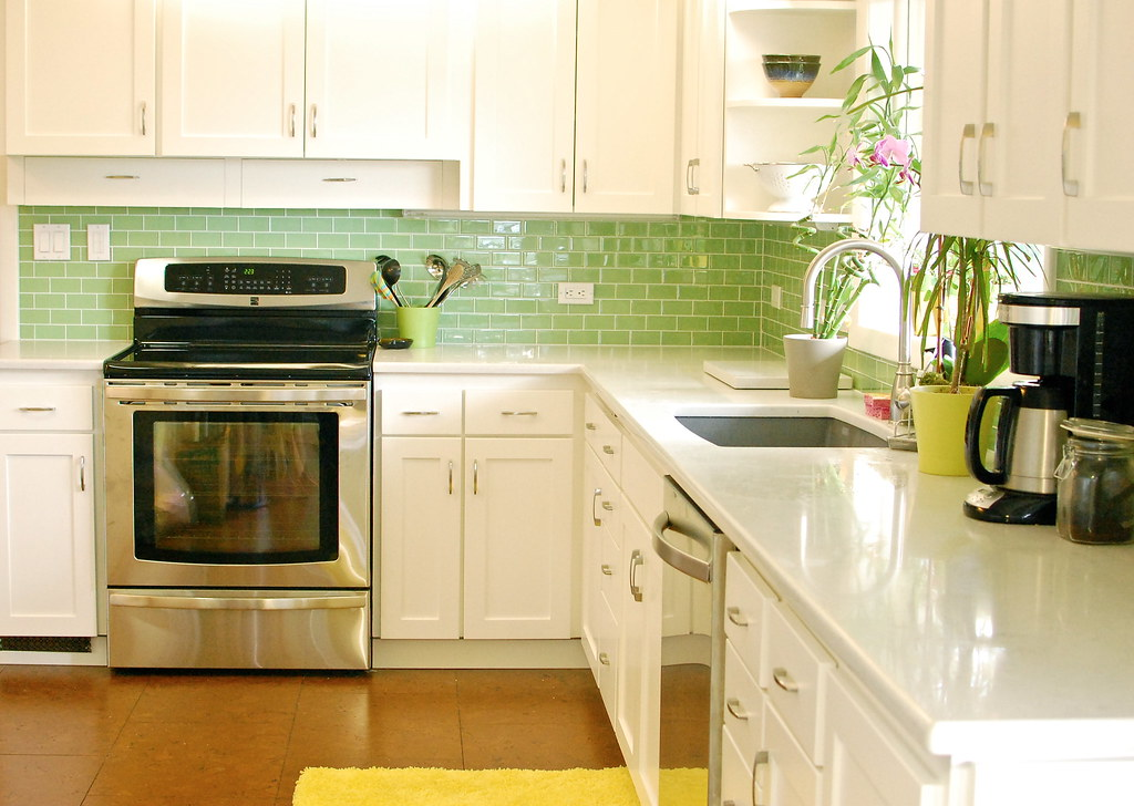 green tile backsplash kitchen white kitchen green tiles 2011 our kitchen remodel flickr 17952