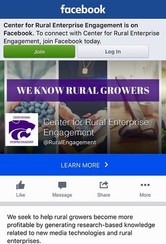 KSU Center for Rural Enterprise Engagement Facebook screenshot