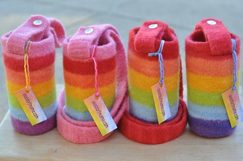 felted water bottle carriers :: rainbow group | by waldorf mama