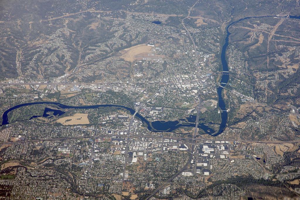 Aerial View Of The Sacramento River And Redding Californi