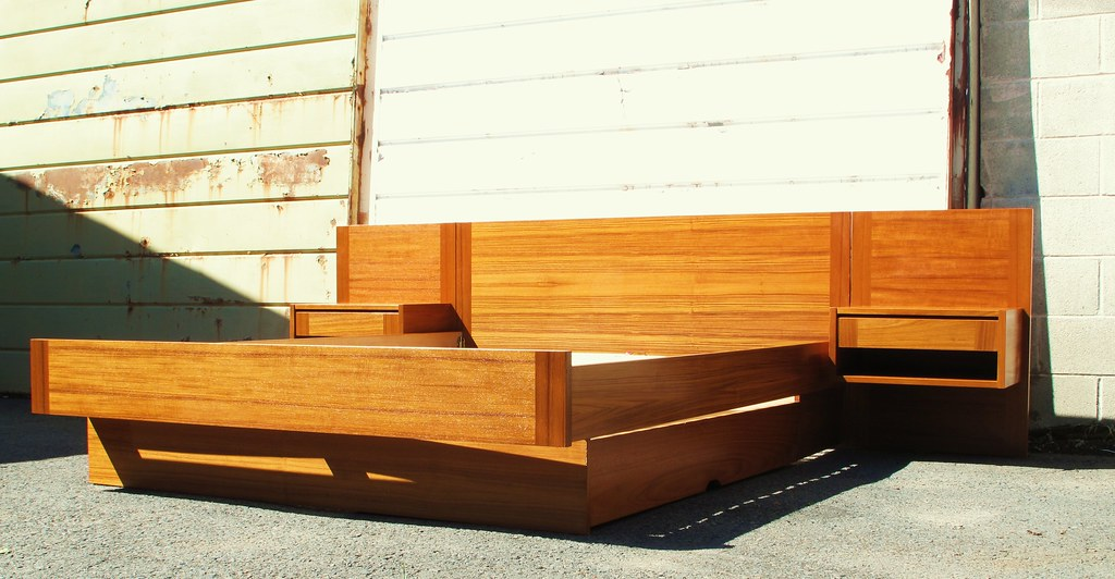 danish modern teak platform bed with floating nightstands
