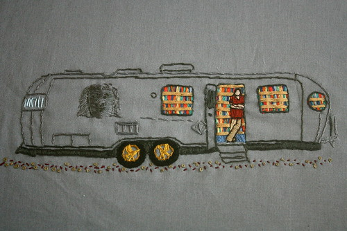 The Night Bookmobile embroidery by crafty mcgee | by paghababian